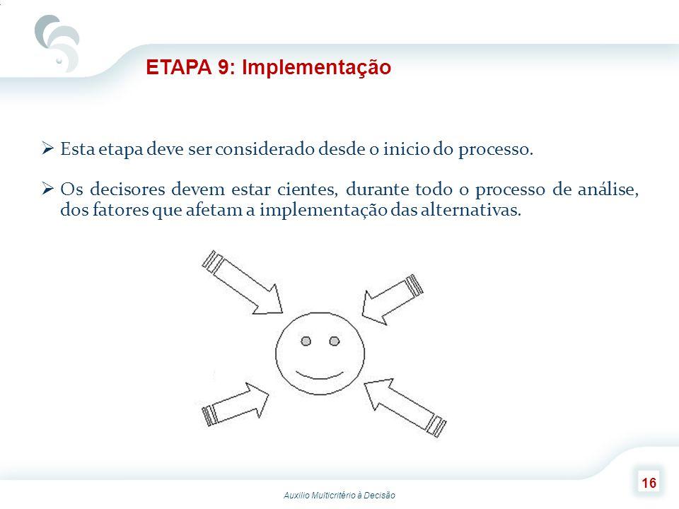 ETAPA 9: Implementação Esta etapa deve ser considerado desde o inicio do processo.