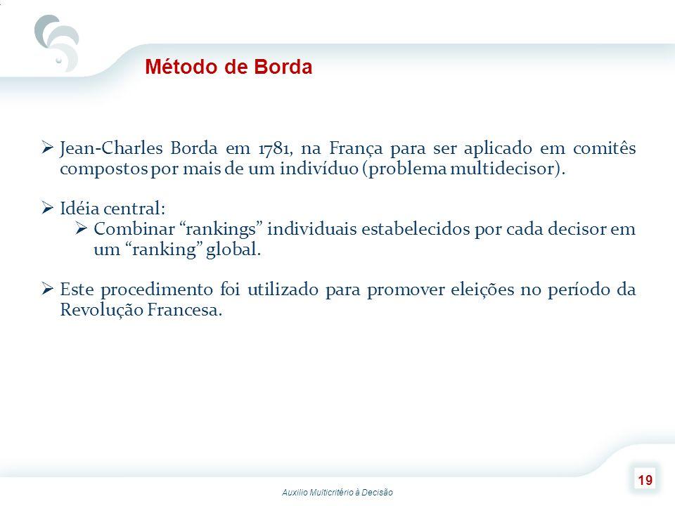 Método de Borda Jean-Charles Borda em 1781, na França para ser aplicado em comitês compostos por mais de um indivíduo (problema multidecisor).