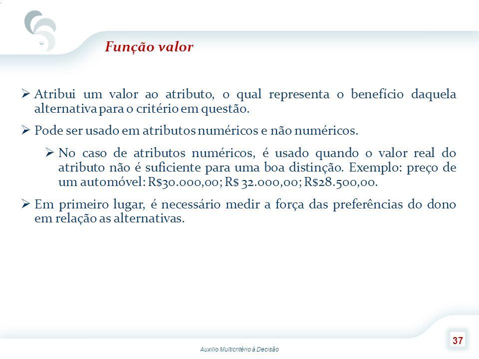 Função valor Atribui um valor ao atributo, o qual representa o benefício daquela alternativa para o critério em questão.