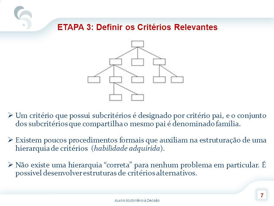 ETAPA 3: Definir os Critérios Relevantes