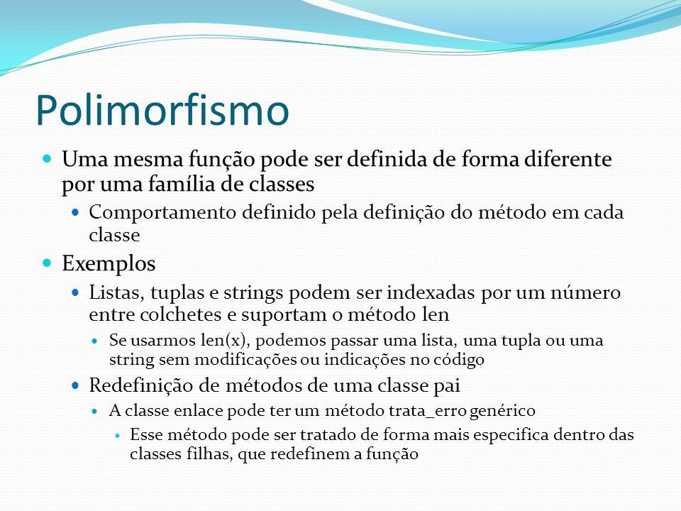 Polimorfismo Uma mesma função pode ser definida de forma diferente por uma família de classes.