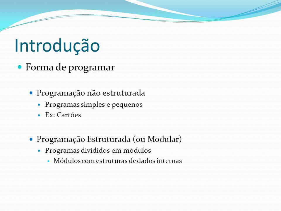 Introdução Forma de programar Programação não estruturada