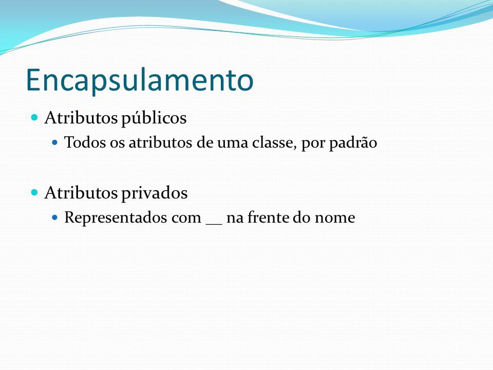 Encapsulamento Atributos públicos Atributos privados