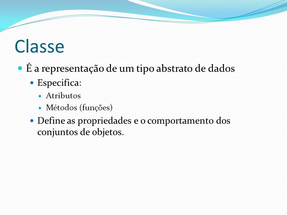 Classe É a representação de um tipo abstrato de dados Especifica: