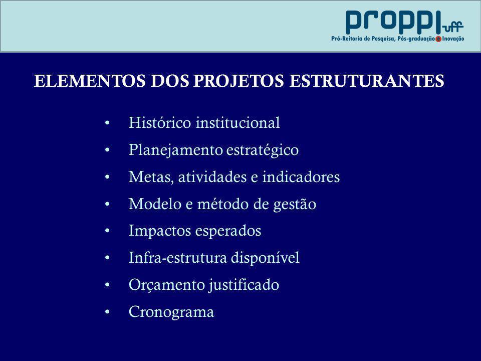 ELEMENTOS DOS PROJETOS ESTRUTURANTES