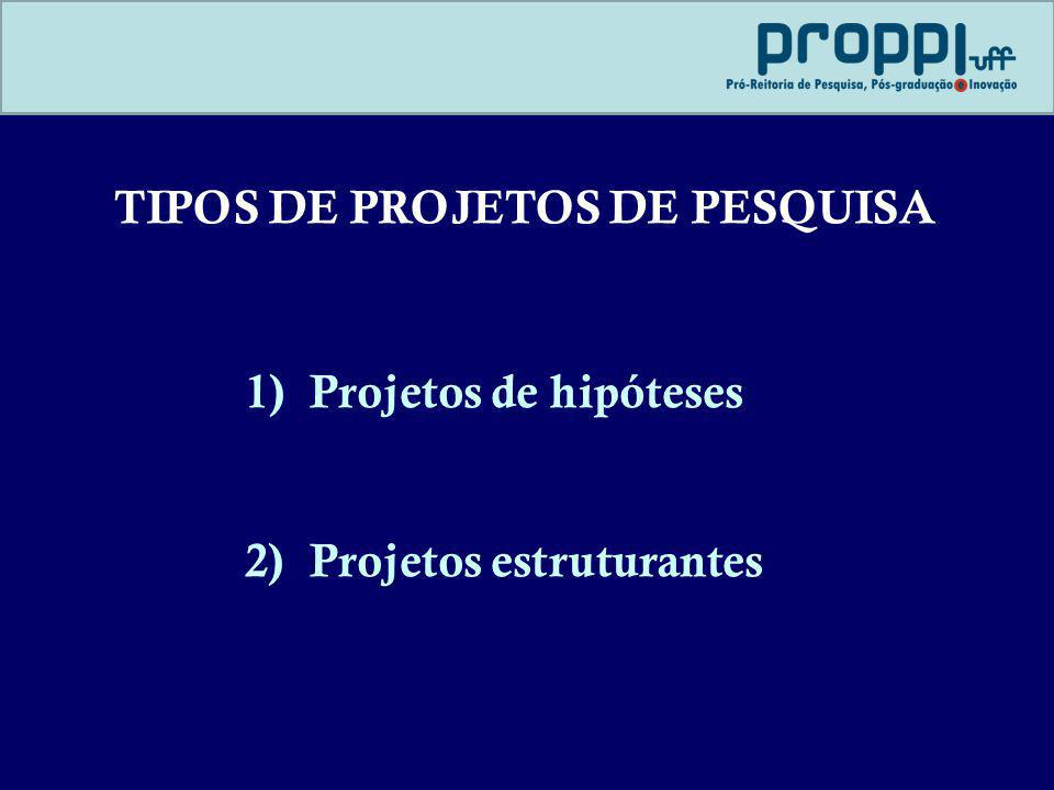 TIPOS DE PROJETOS DE PESQUISA