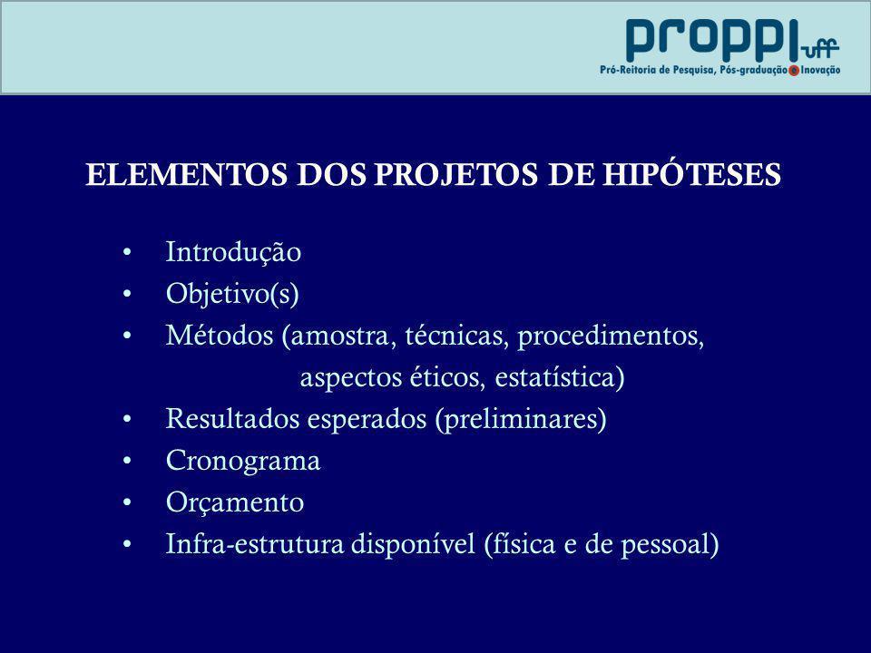 ELEMENTOS DOS PROJETOS DE HIPÓTESES