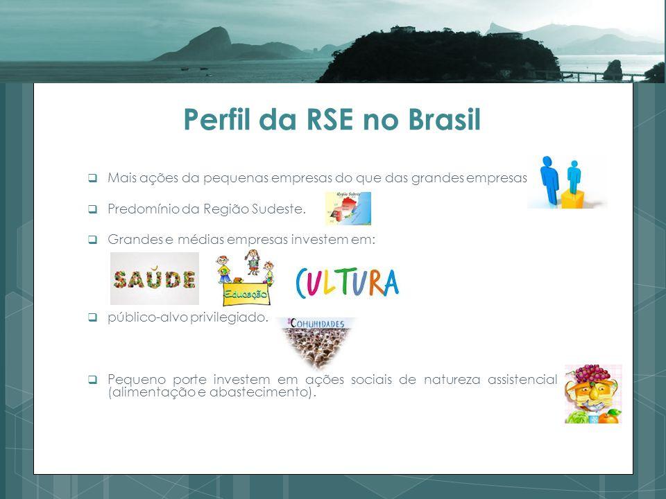 Perfil da RSE no Brasil Mais ações da pequenas empresas do que das grandes empresas. Predomínio da Região Sudeste.