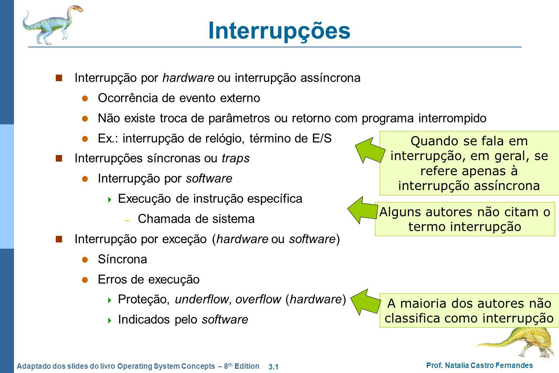 Interrupções Interrupção por hardware ou interrupção assíncrona