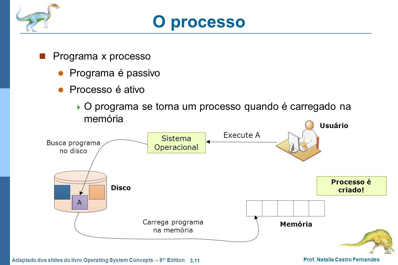 O processo Programa x processo Programa é passivo Processo é ativo
