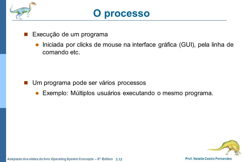 O processo Execução de um programa