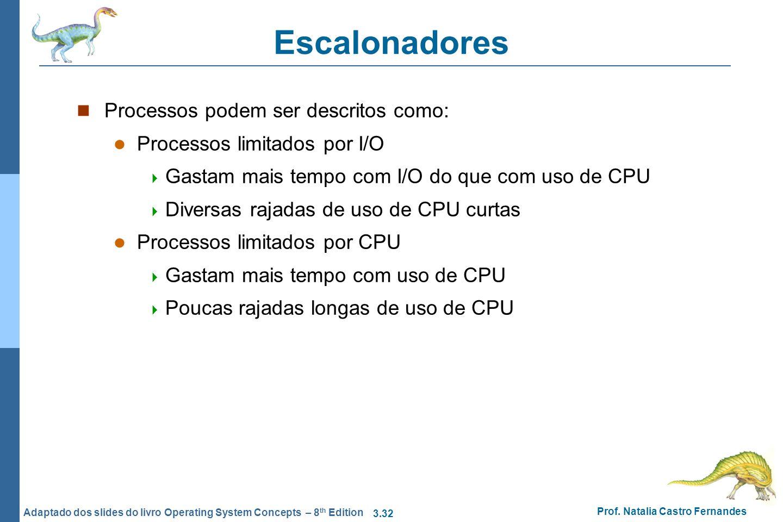 Escalonadores Processos podem ser descritos como: