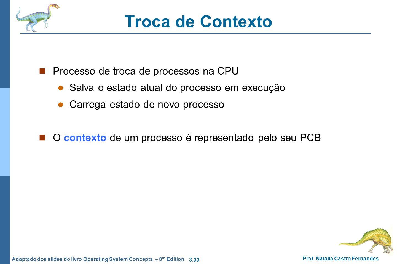 Troca de Contexto Processo de troca de processos na CPU