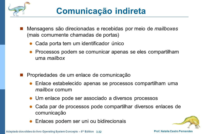 Comunicação indireta Mensagens são direcionadas e recebidas por meio de mailboxes (mais comumente chamadas de portas)