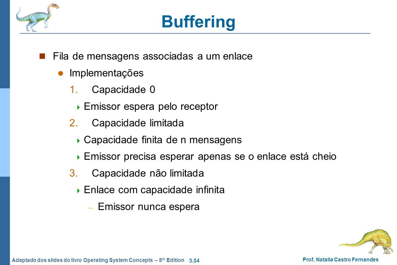 Buffering Fila de mensagens associadas a um enlace Implementações