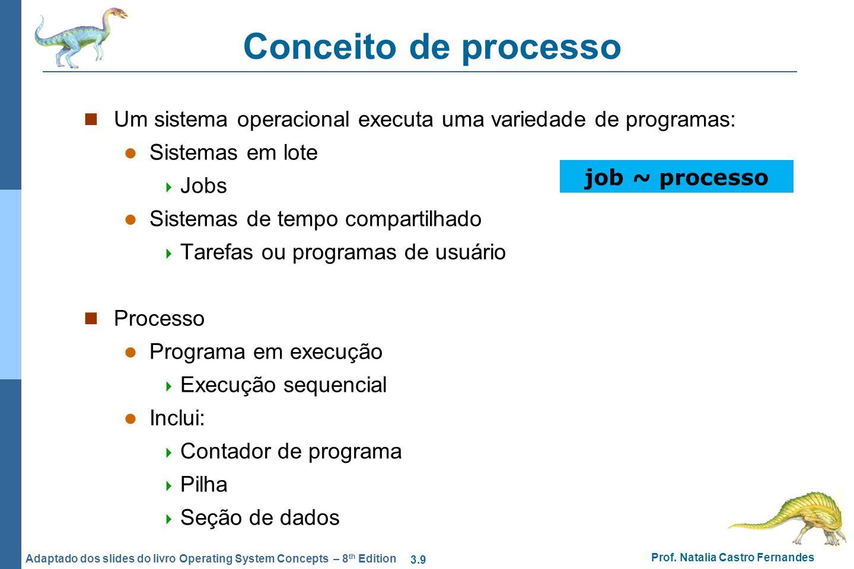Conceito de processo Um sistema operacional executa uma variedade de programas: Sistemas em lote. Jobs.