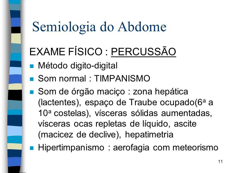 Semiologia do Abdome EXAME FÍSICO : PERCUSSÃO Método digito-digital