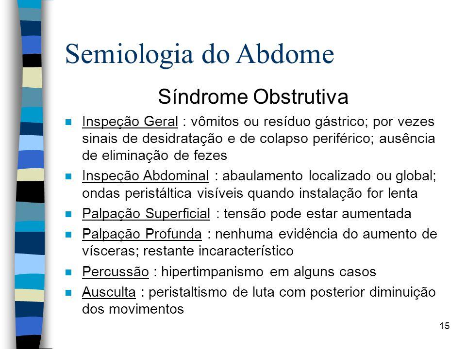 Semiologia do Abdome Síndrome Obstrutiva