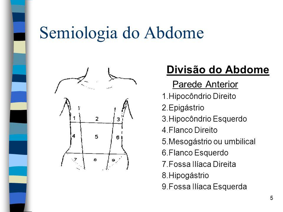 Semiologia do Abdome Divisão do Abdome Parede Anterior