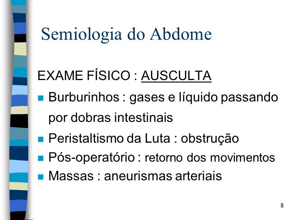Semiologia do Abdome EXAME FÍSICO : AUSCULTA
