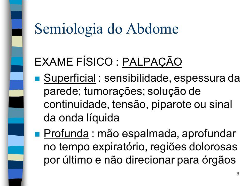 Semiologia do Abdome EXAME FÍSICO : PALPAÇÃO