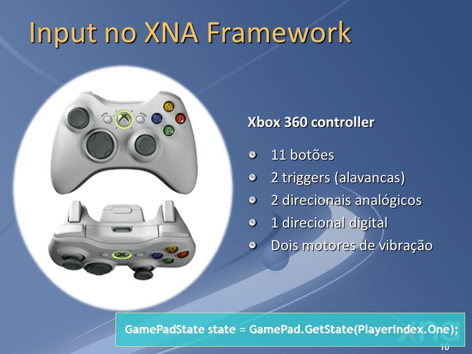 Input no XNA Framework Xbox 360 controller 11 botões