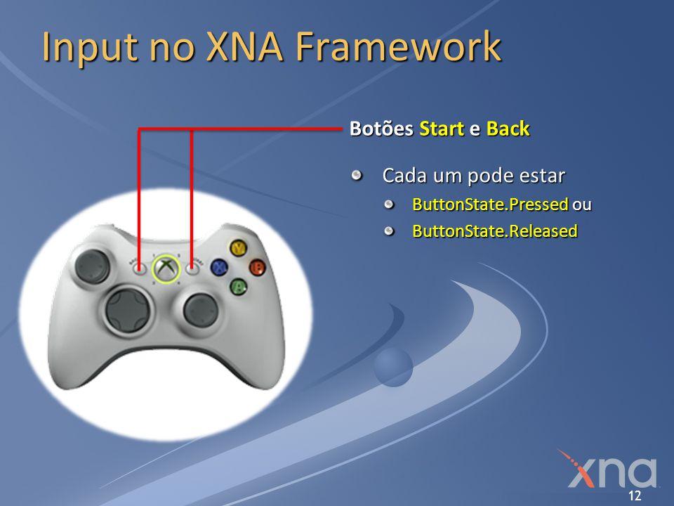 Input no XNA Framework Botões Start e Back Cada um pode estar
