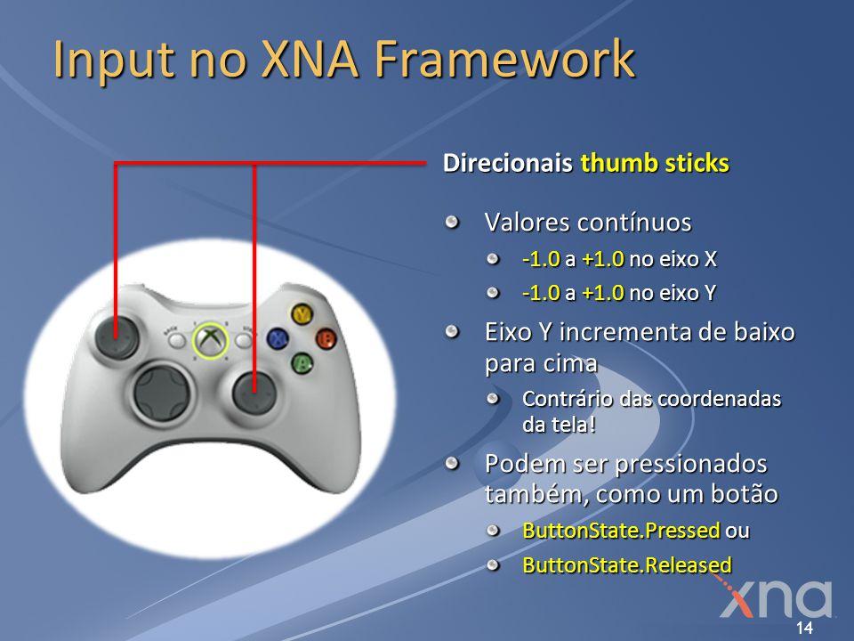 Input no XNA Framework Direcionais thumb sticks Valores contínuos