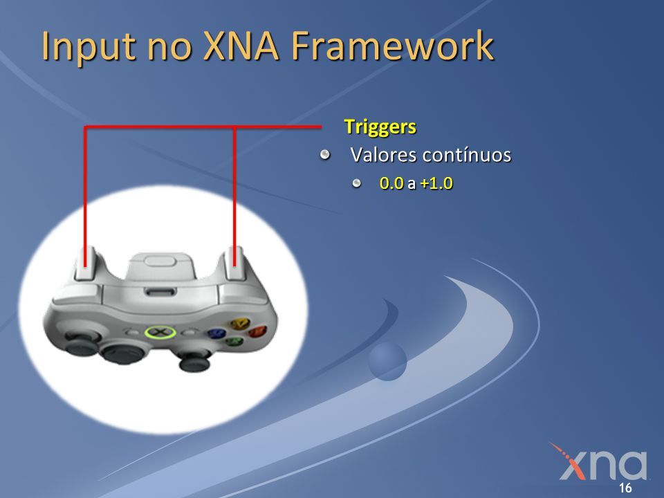 Input no XNA Framework Triggers Valores contínuos 0.0 a +1.0