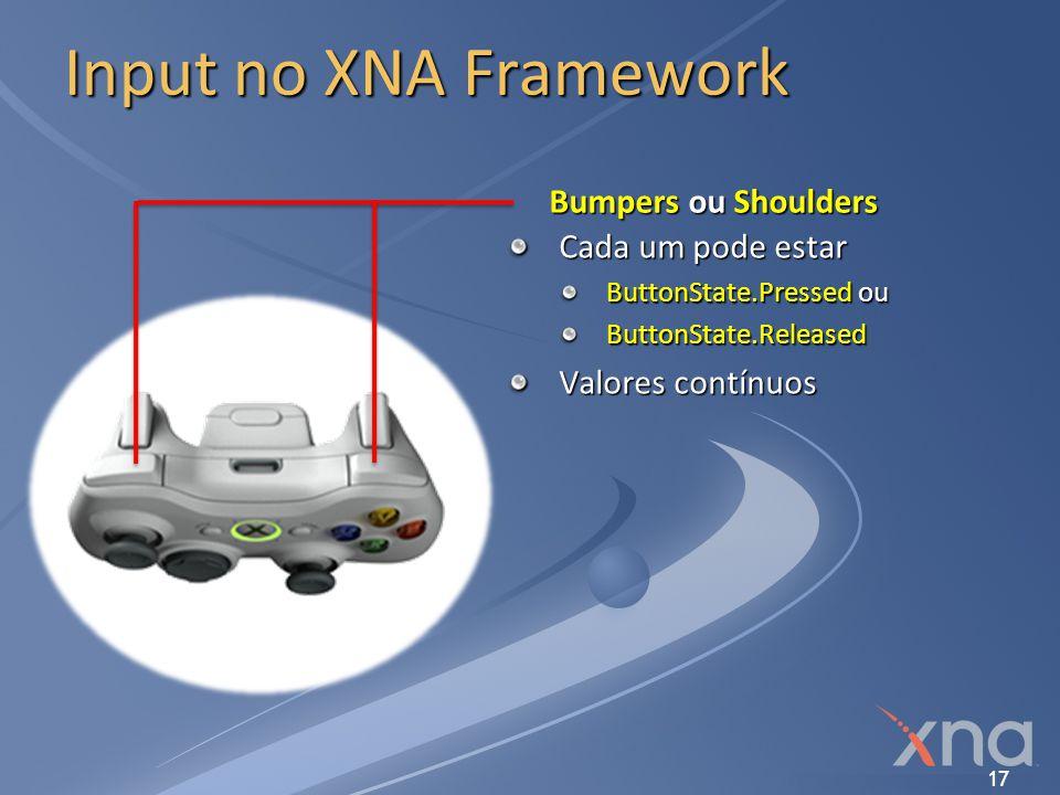 Input no XNA Framework Bumpers ou Shoulders Cada um pode estar
