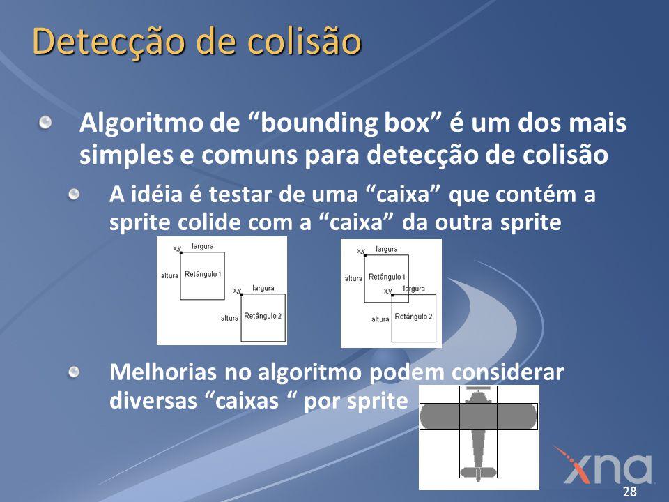 Detecção de colisão Algoritmo de bounding box é um dos mais simples e comuns para detecção de colisão.