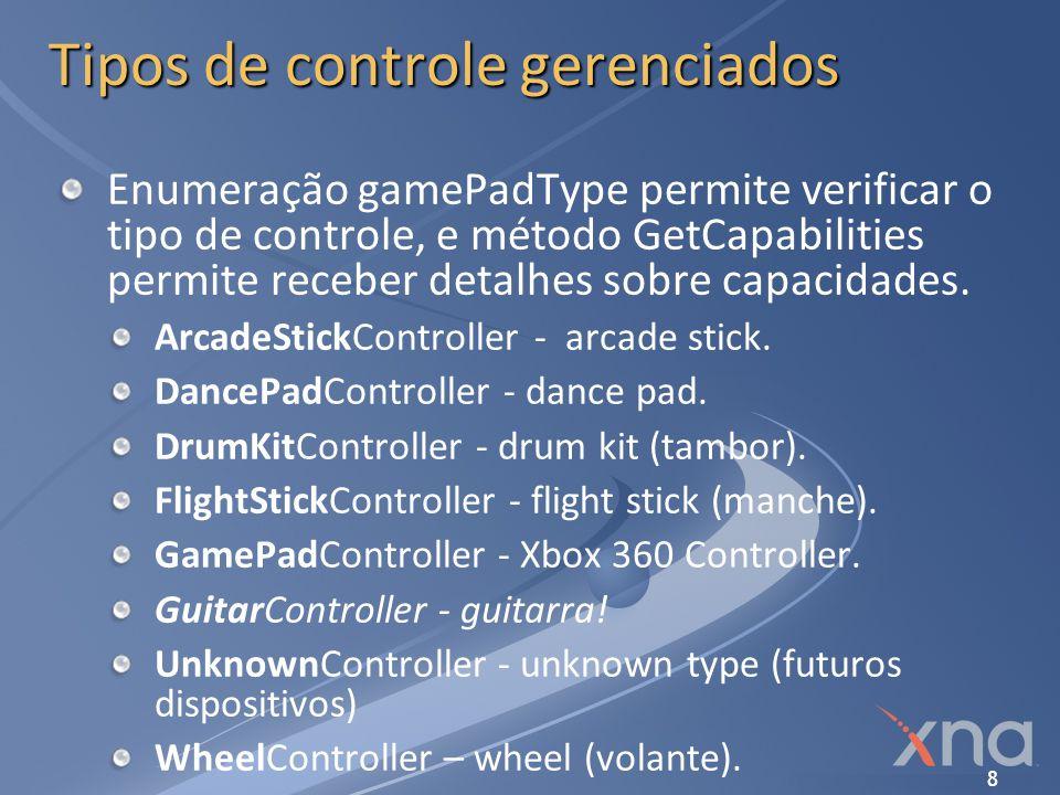 Tipos de controle gerenciados