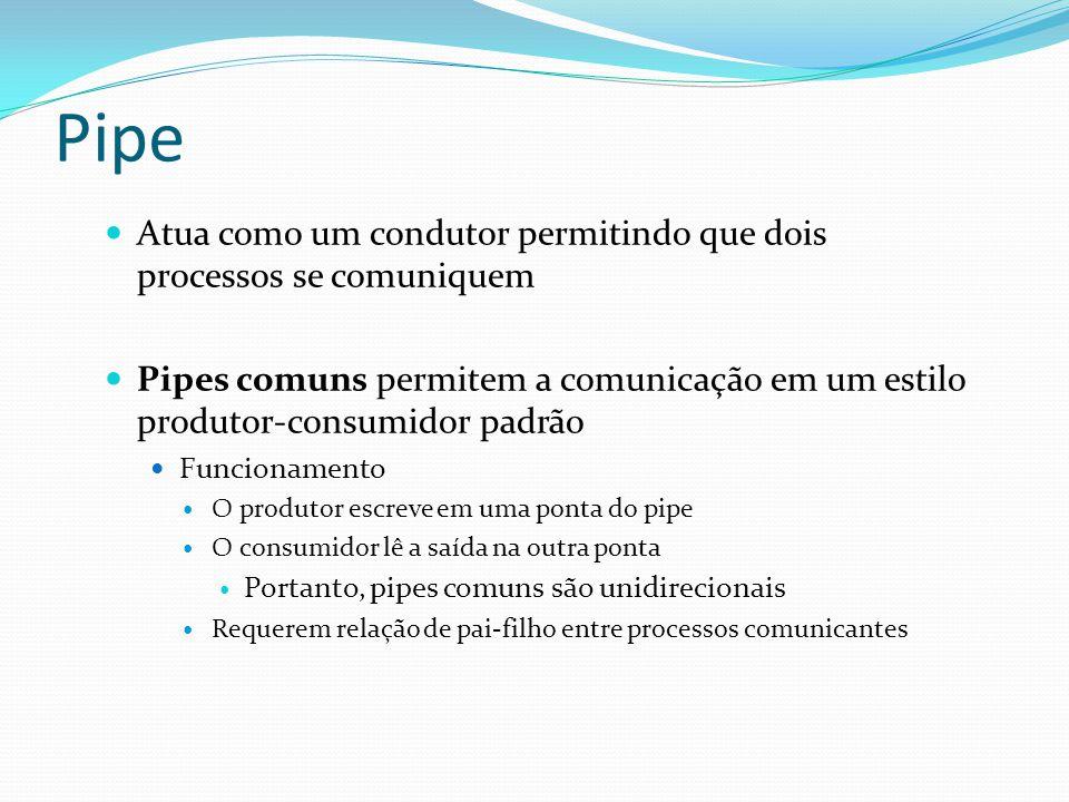 Pipe Atua como um condutor permitindo que dois processos se comuniquem