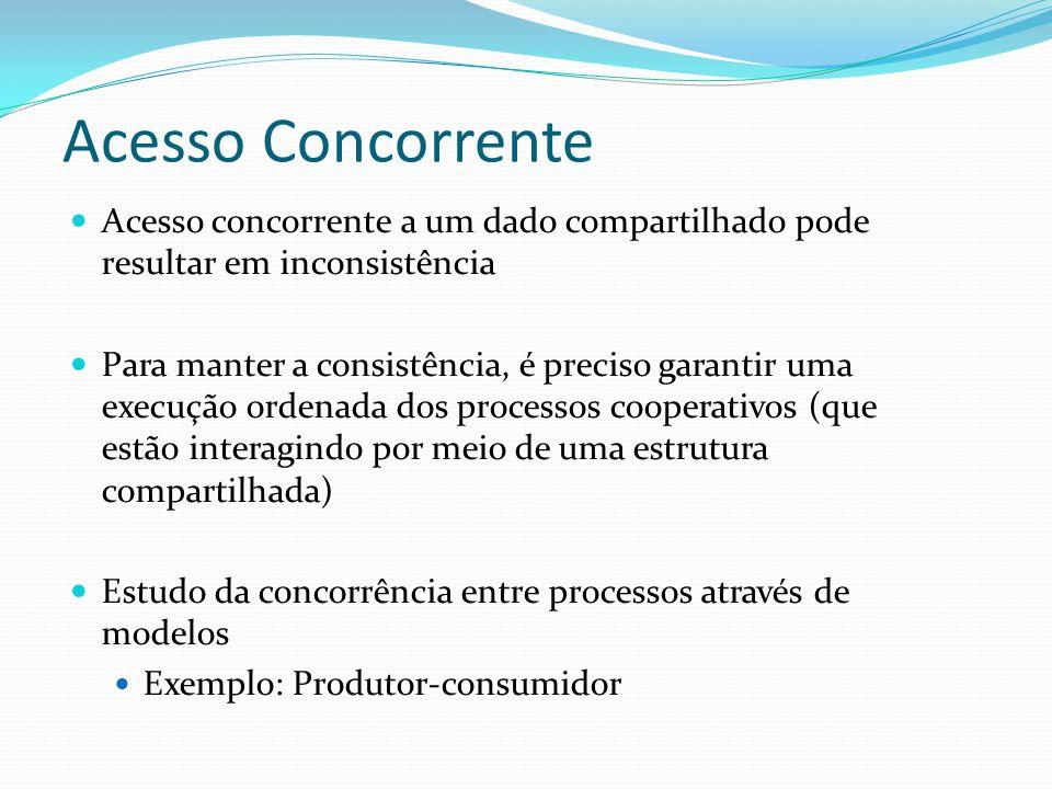 Acesso Concorrente Acesso concorrente a um dado compartilhado pode resultar em inconsistência.