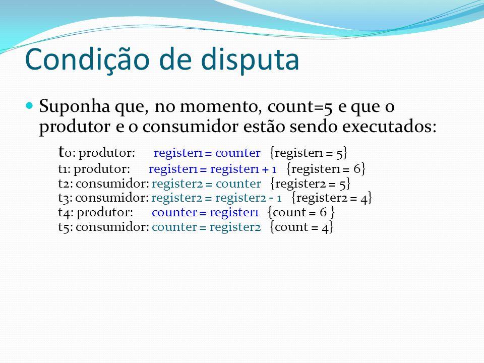 Condição de disputa Suponha que, no momento, count=5 e que o produtor e o consumidor estão sendo executados: