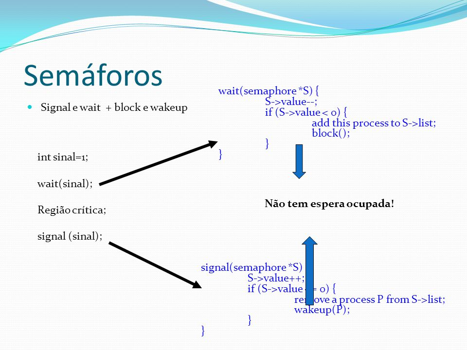 Semáforos wait(semaphore *S) { S->value--;