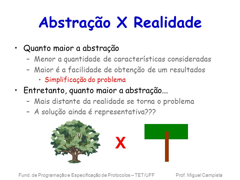 X Abstração X Realidade Quanto maior a abstração