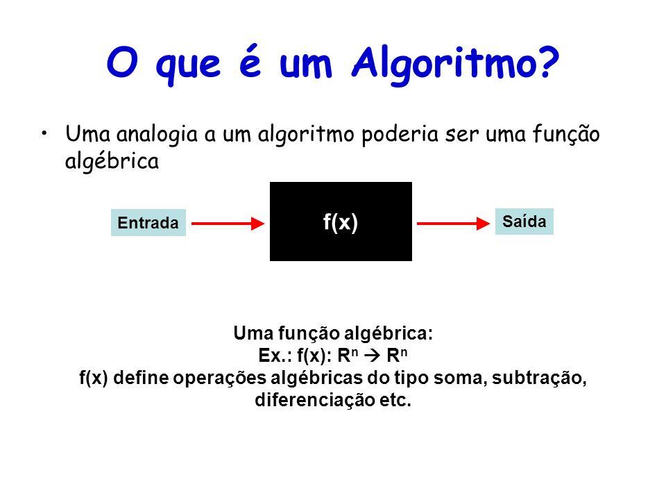 O que é um Algoritmo Uma analogia a um algoritmo poderia ser uma função algébrica. f(x) Entrada.