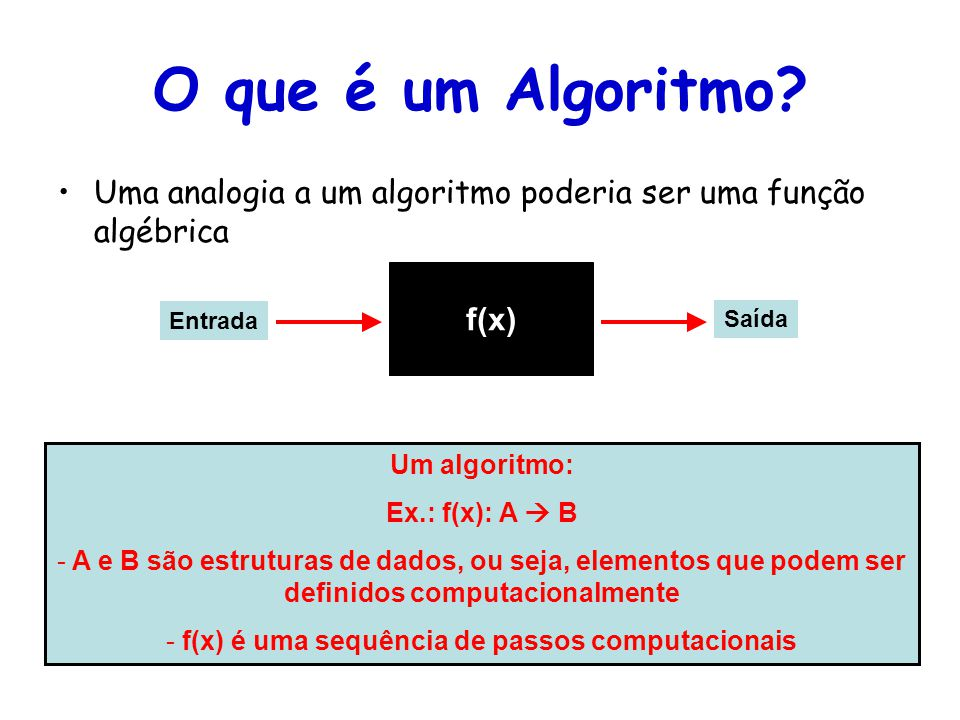 f(x) é uma sequência de passos computacionais