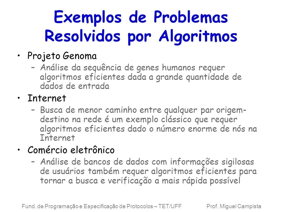 Exemplos de Problemas Resolvidos por Algoritmos