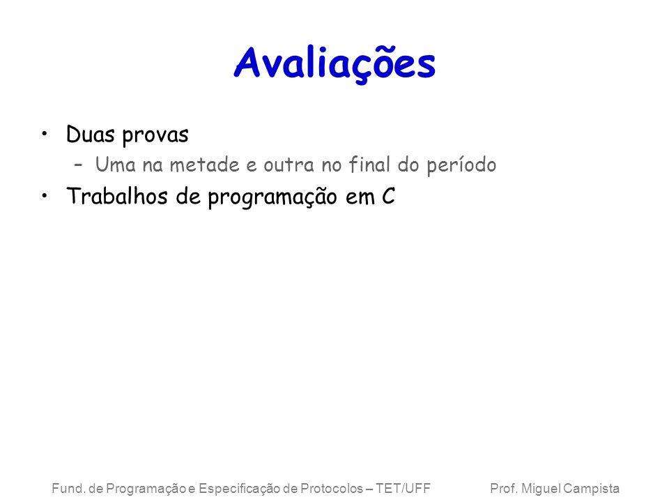 Avaliações Duas provas Trabalhos de programação em C