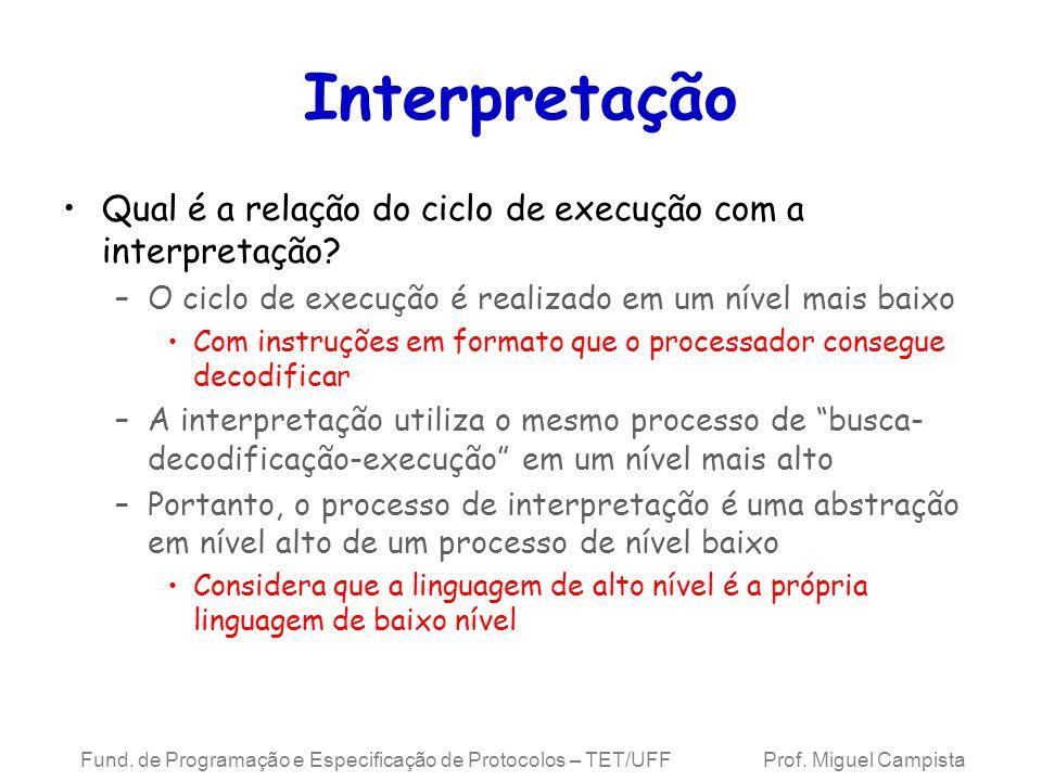 Interpretação Qual é a relação do ciclo de execução com a interpretação O ciclo de execução é realizado em um nível mais baixo.