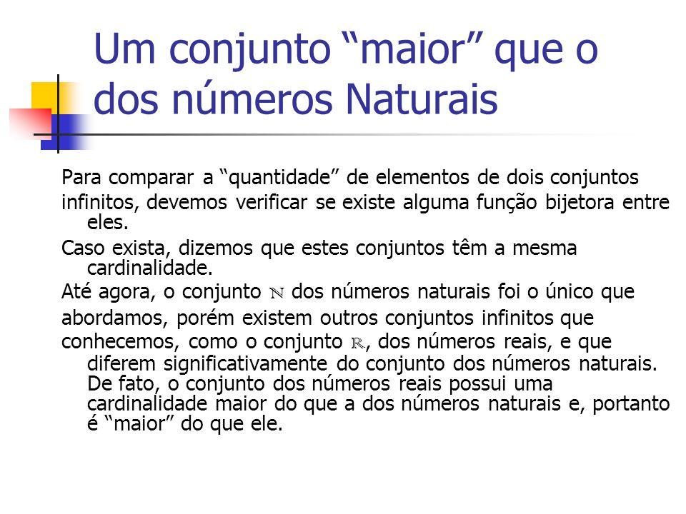 Um conjunto maior que o dos números Naturais