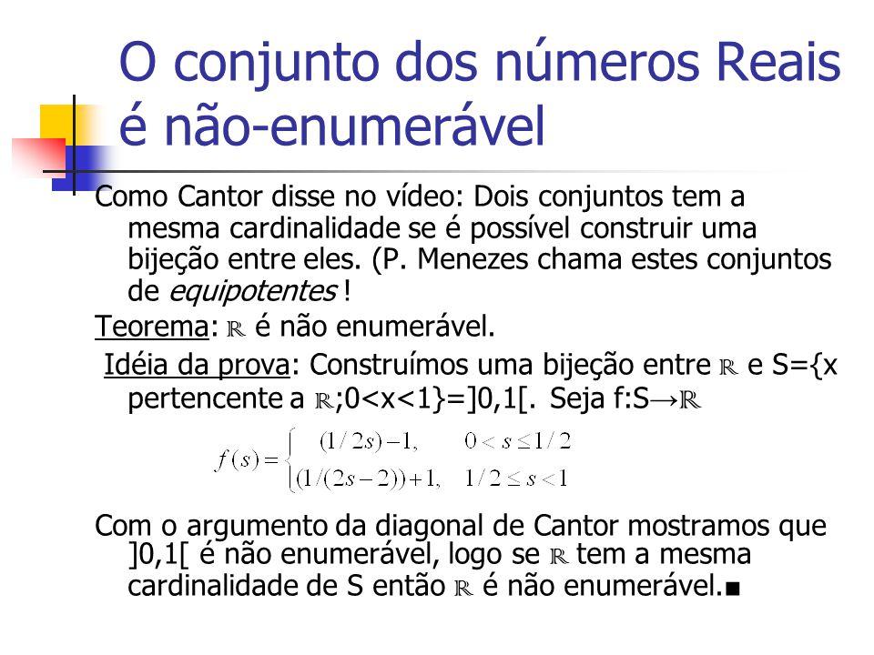 O conjunto dos números Reais é não-enumerável