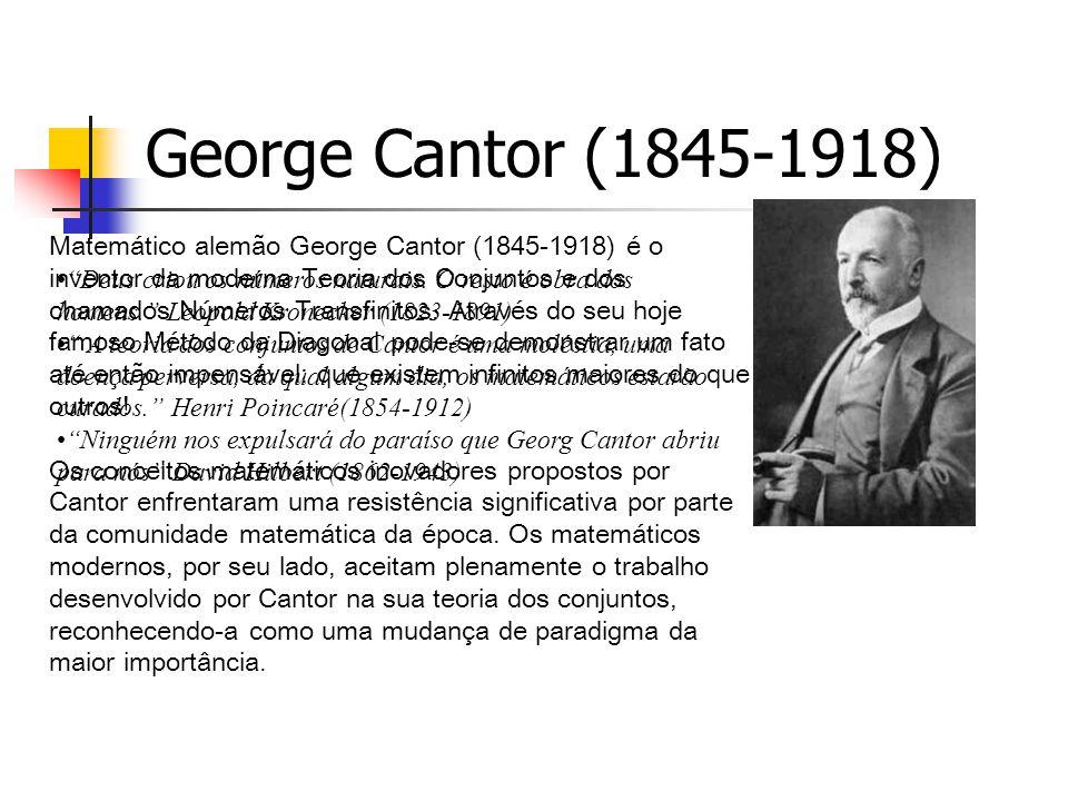 George Cantor (1845-1918) Matemático alemão George Cantor (1845-1918) é o. inventor da moderna Teoria dos Conjuntos e dos.