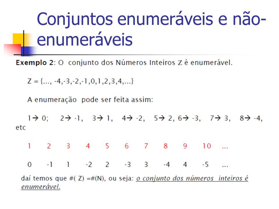 Conjuntos enumeráveis e não- enumeráveis