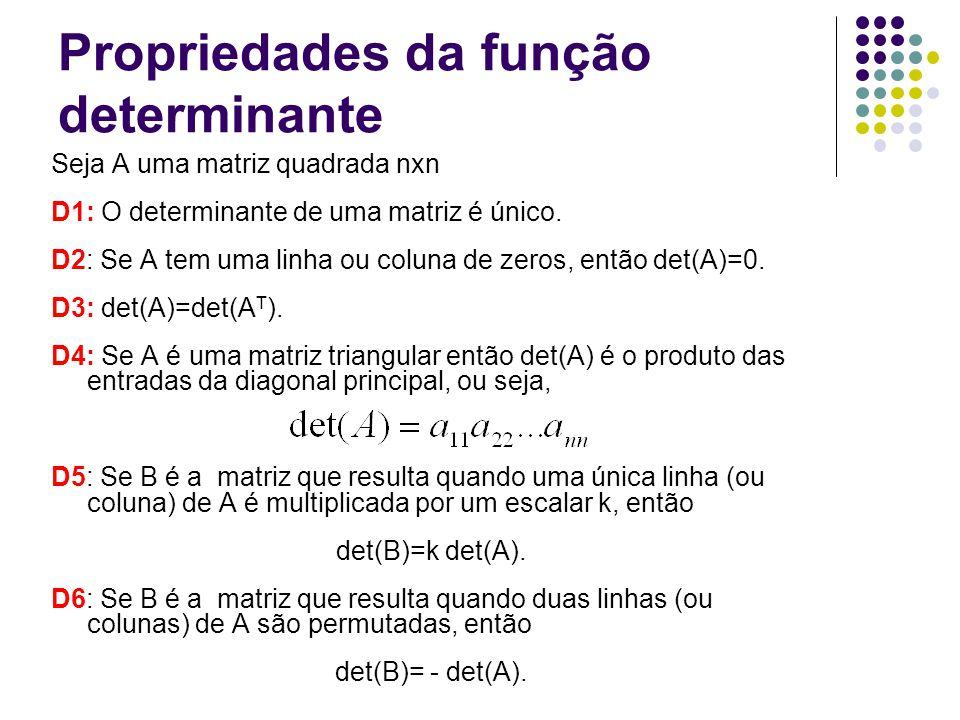 Propriedades da função determinante
