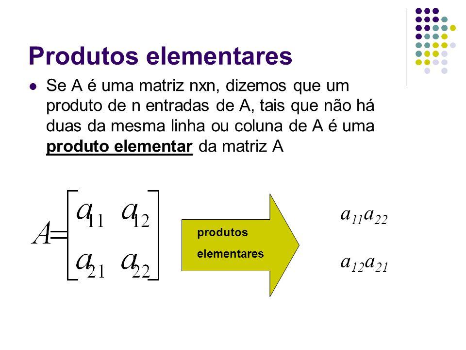 Produtos elementares a11a22 a12a21