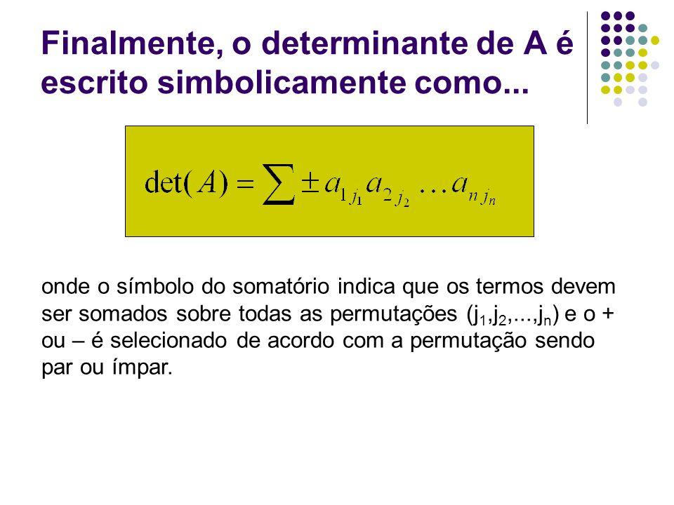 Finalmente, o determinante de A é escrito simbolicamente como...