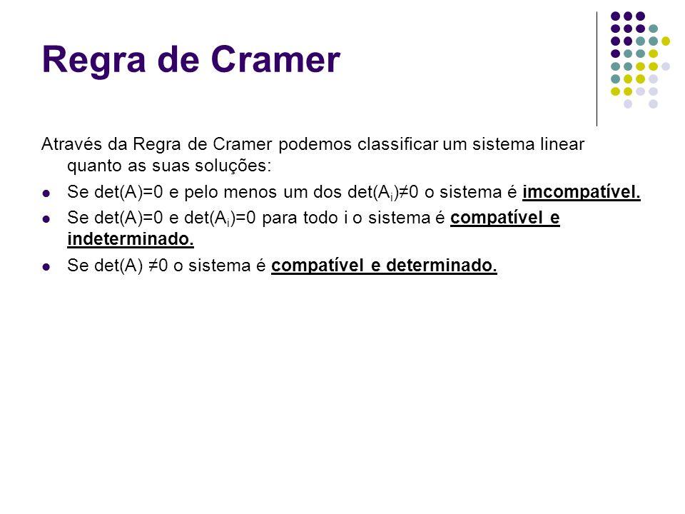 Regra de Cramer Através da Regra de Cramer podemos classificar um sistema linear quanto as suas soluções: